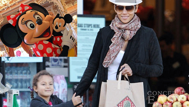 Pregnant Halle Berry takes daughter Nahla to Disneyland