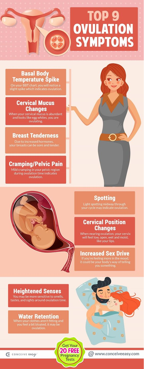 Top 9 Ovulation Symptoms Infographic