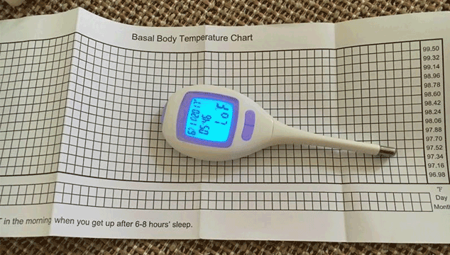 tracking ovulation and fertility using a BBT thermometer and chart