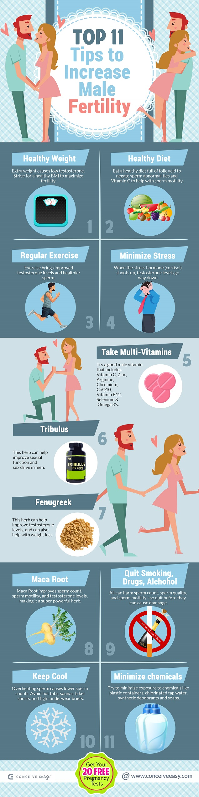 Top 11 Tips to Increase Male Fertility Infographic