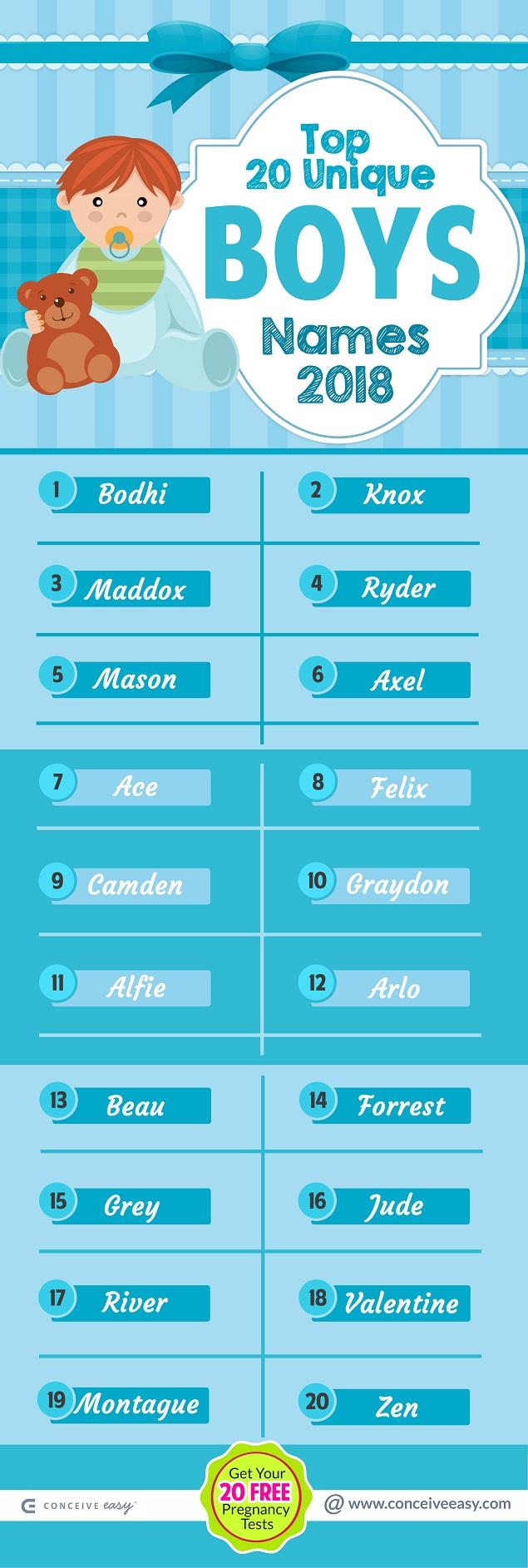 Unique Boys Names Infographic