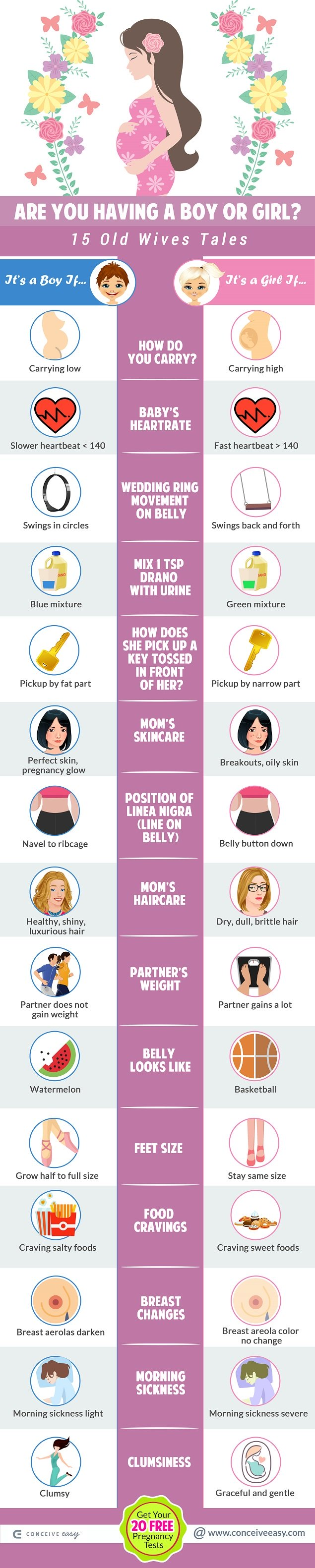 Boy or Girl? 15 Old Wives Tales Infographic