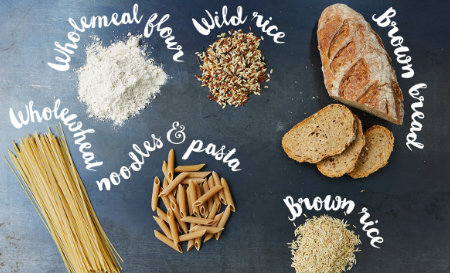 whole grains and carbs